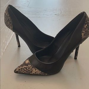 Kelsi Dagger faux snakeskin & black high heels